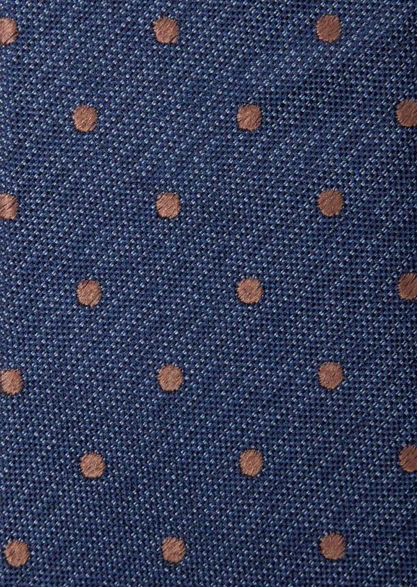 Cravate large en soie bleu indigo à pois - Father and Sons 37890