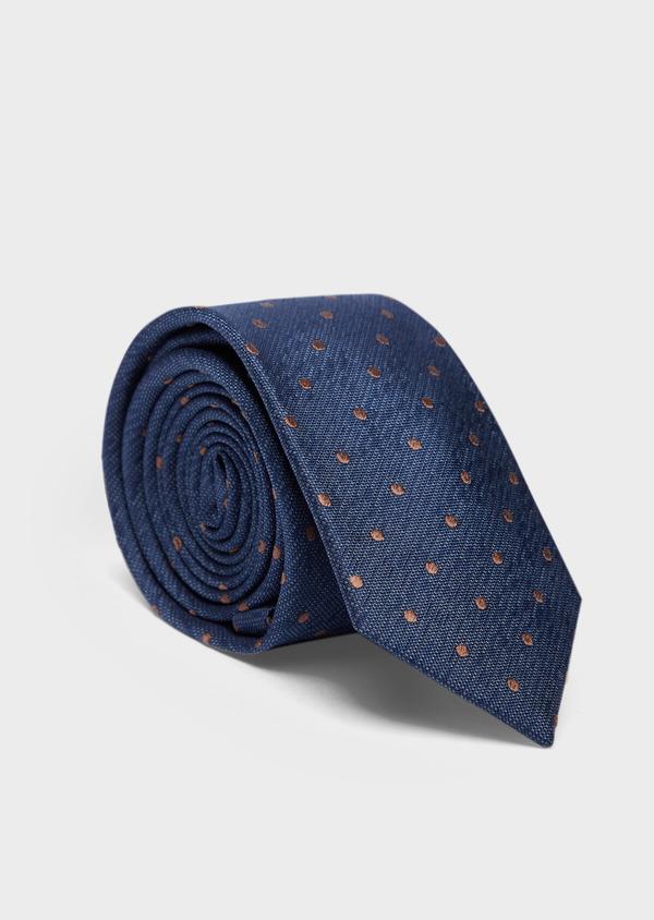 Cravate large en soie bleu indigo à pois - Father and Sons 37889