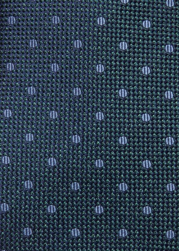 Cravate large en soie verte à pois bleus - Father and Sons 37784