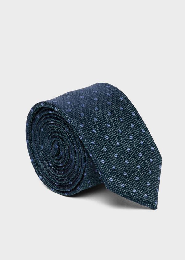 Cravate large en soie verte à pois bleus - Father and Sons 37783