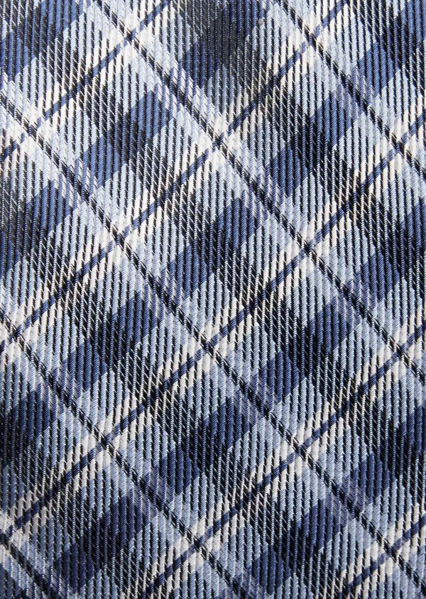 Cravate large en soie à carreaux bleu et blanc - Father and Sons 37808
