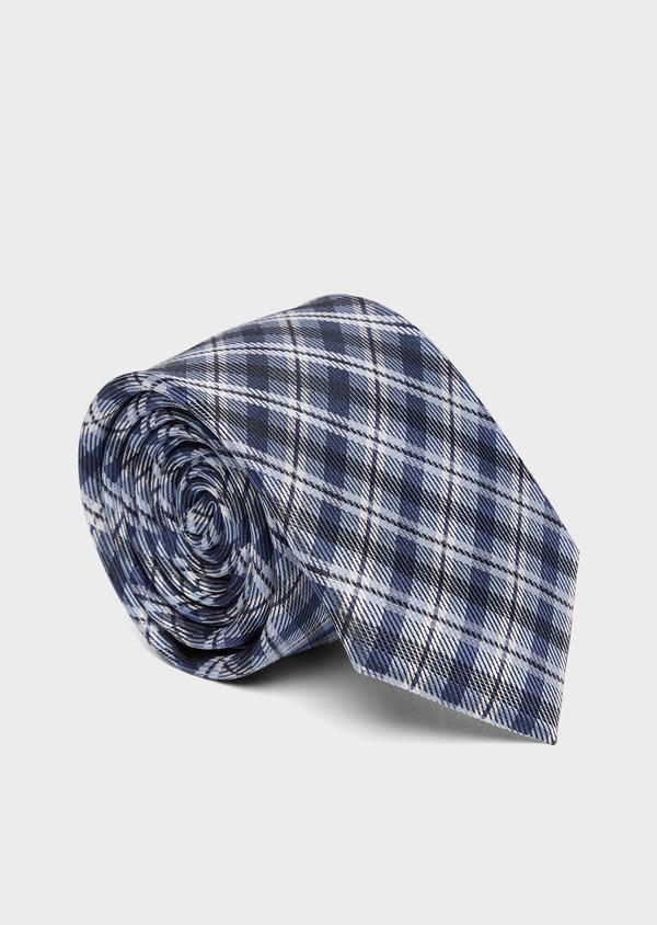 Cravate large en soie à carreaux bleu et blanc - Father and Sons 37807
