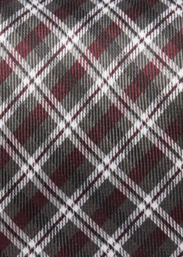 Cravate large en soie à carreaux gris et bordeaux - Father and Sons 37812