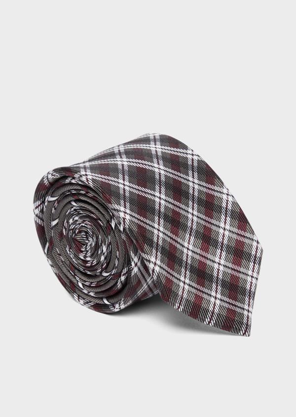 Cravate large en soie à carreaux gris et bordeaux - Father and Sons 37811