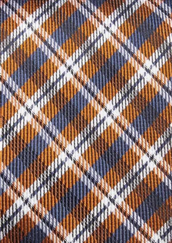 Cravate large en soie marron Prince de Galles - Father and Sons 37764