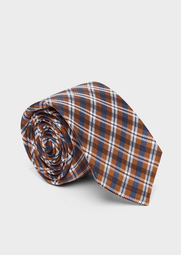 Cravate large en soie marron Prince de Galles - Father and Sons 37763