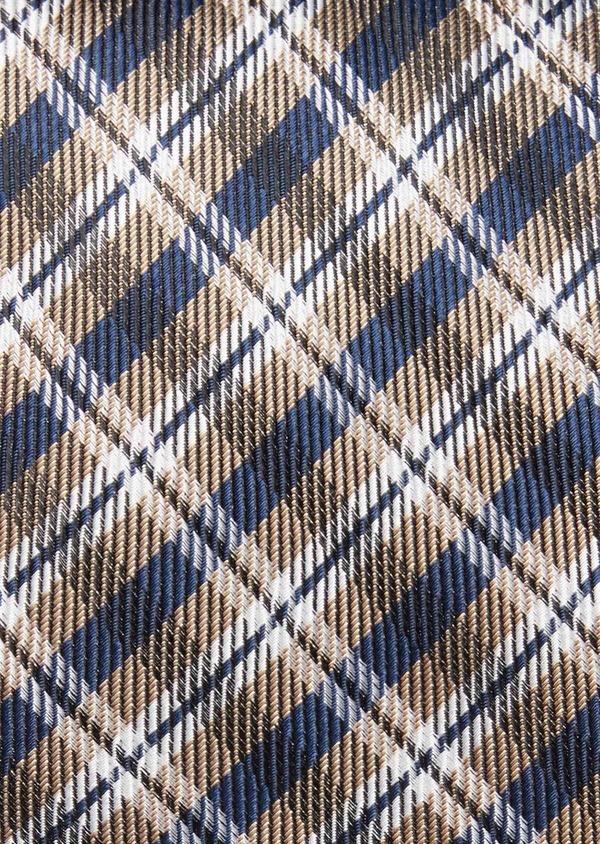 Cravate large en soie à carreaux bleu, marron et blanc - Father and Sons 37840