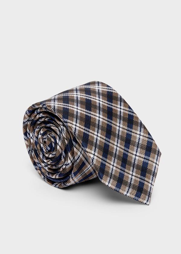 Cravate large en soie à carreaux bleu, marron et blanc - Father and Sons 37839
