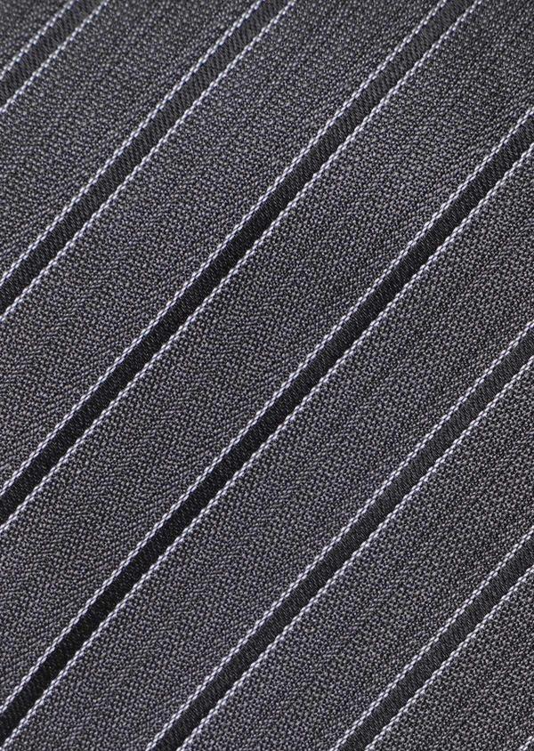 Cravate club large en soie gris anthracite et noir - Father and Sons 35105