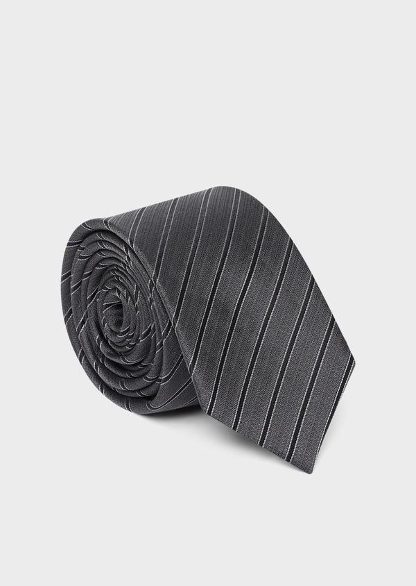 Cravate club large en soie gris anthracite et noir - Father and Sons 35104