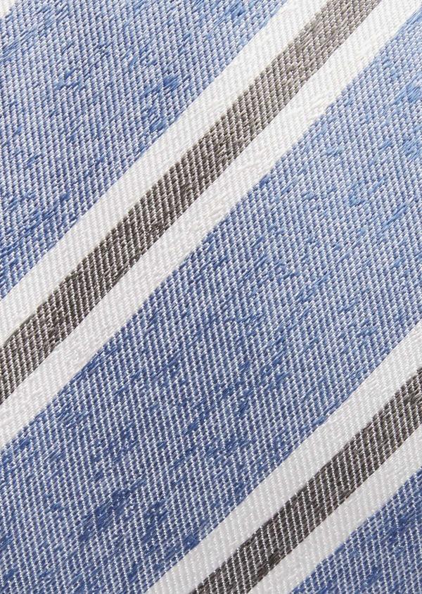 Cravate club large en soie bleue et grise - Father and Sons 37752