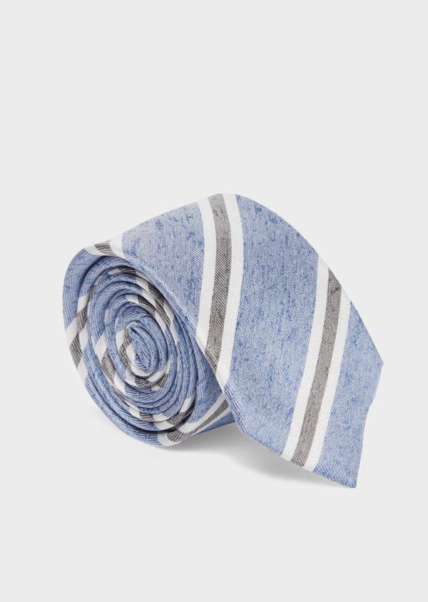Cravate club large en soie bleue et grise - Father and Sons 37751