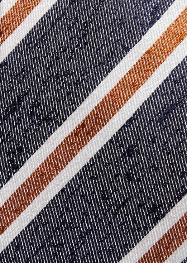 Cravate club large en soie bleu, orange et blanc - Father and Sons 37768