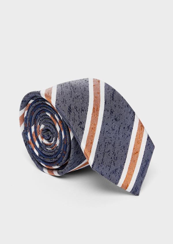 Cravate club large en soie bleu, orange et blanc - Father and Sons 37767