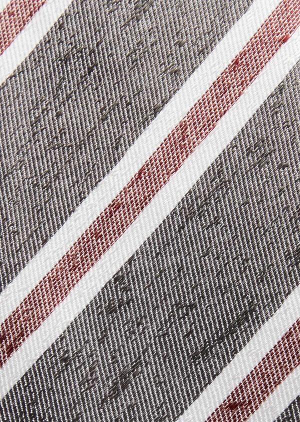 Cravate club large en soie gris et bordeaux - Father and Sons 37814