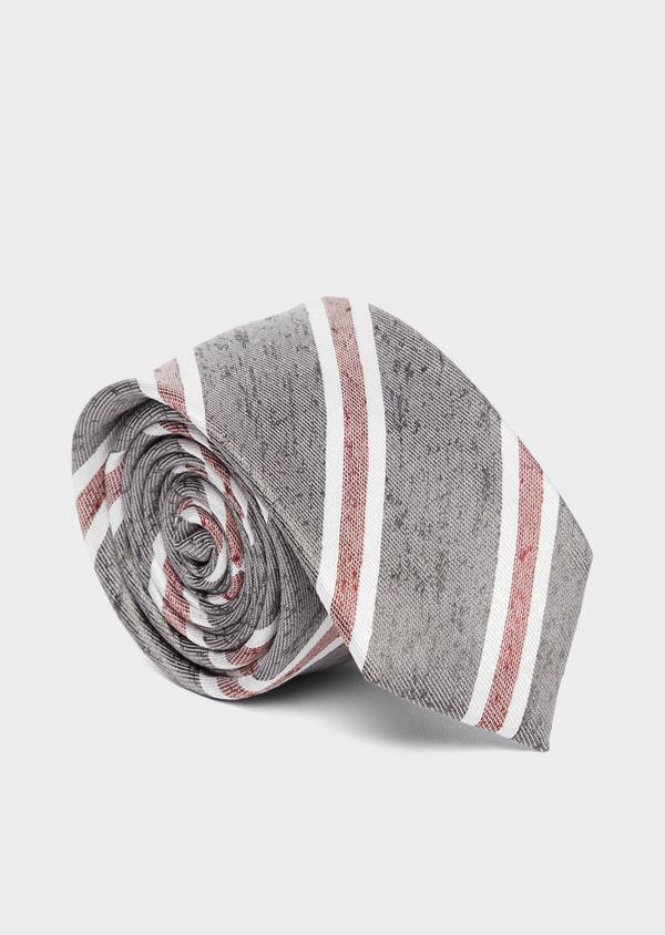 Cravate club large en soie gris et bordeaux - Father and Sons 37813