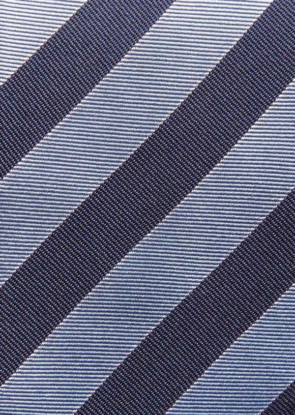 Cravate large en soie à rayures bleu marine - Father and Sons 36316