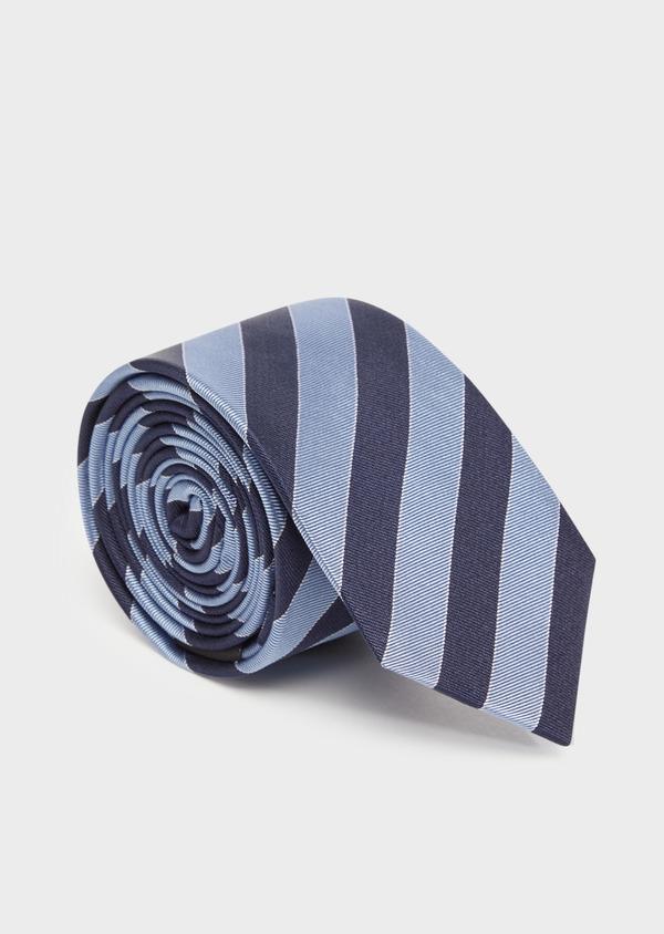 Cravate large en soie à rayures bleu marine - Father and Sons 36315