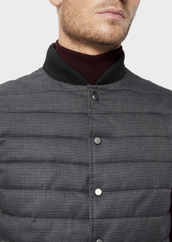 Doudoune light sans manches noire à motifs géométriques réversible - Father and Sons 35986