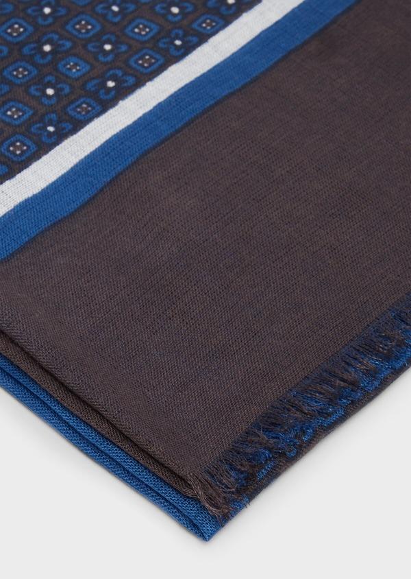 Écharpe en coton bleu à motif fantaisie marron et blanc - Father and Sons 37912