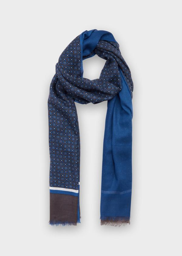 Écharpe en coton bleu à motif fantaisie marron et blanc - Father and Sons 37911