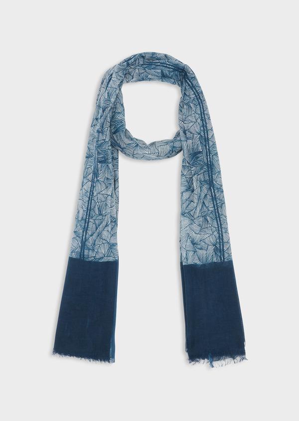 Écharpe en coton blanc à motif fantaisie bleu - Father and Sons 38645