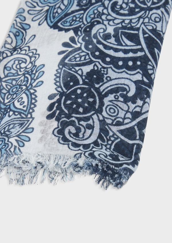 Écharpe en coton blanc à motif fantaisie bleu - Father and Sons 38650