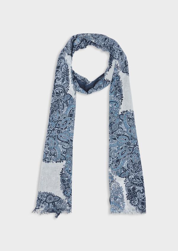 Écharpe en coton blanc à motif fantaisie bleu - Father and Sons 38649