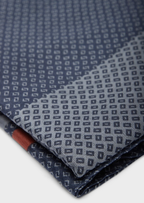 Écharpe en coton à motif fantaisie bleu et gris - Father and Sons 37918