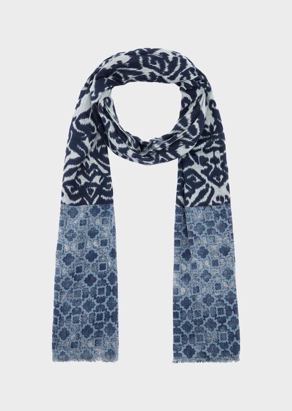 Écharpe en coton à motif fantaisie bleu - Father and Sons 39490