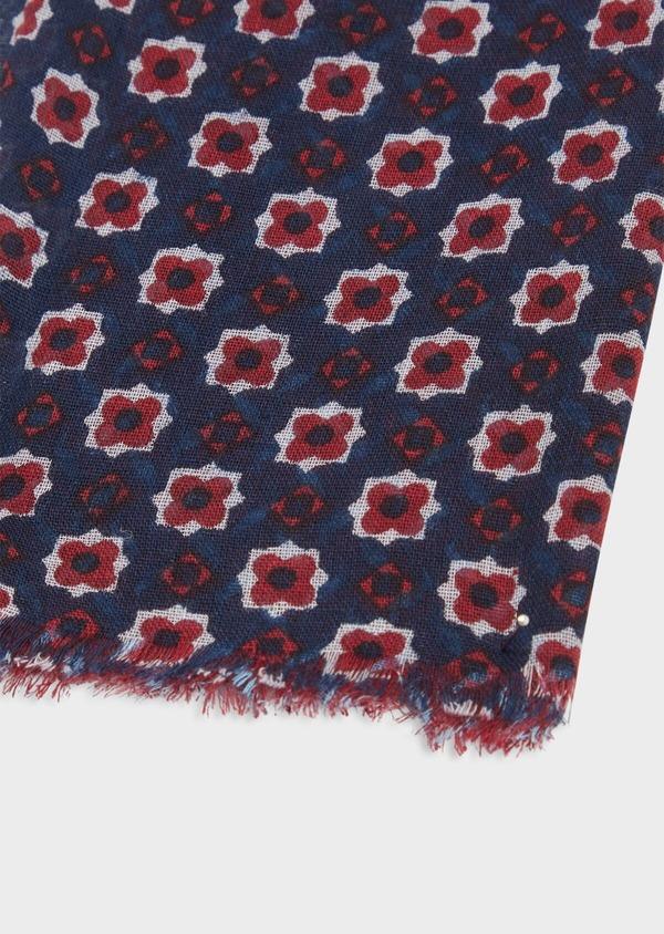 Écharpe en coton à motifs géométriques et fleuris bleu marine - Father and Sons 38648
