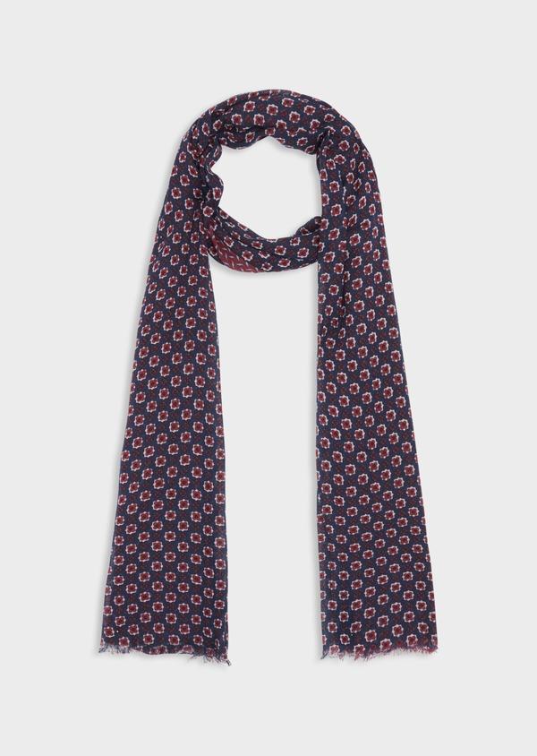 Écharpe en coton à motifs géométriques et fleuris bleu marine - Father and Sons 38647