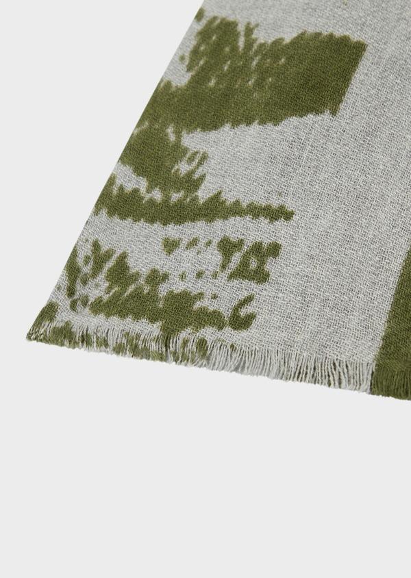 Écharpe en coton gris à motif fantaisie vert kaki - Father and Sons 39485