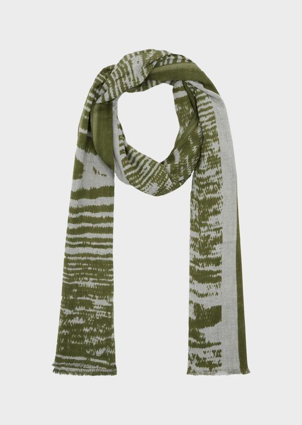 Écharpe en coton gris à motif fantaisie vert kaki - Father and Sons 39484