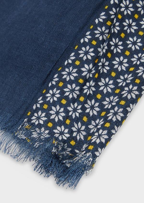 Écharpe en coton bleu à motif fleuri jaune et blanc - Father and Sons 37916