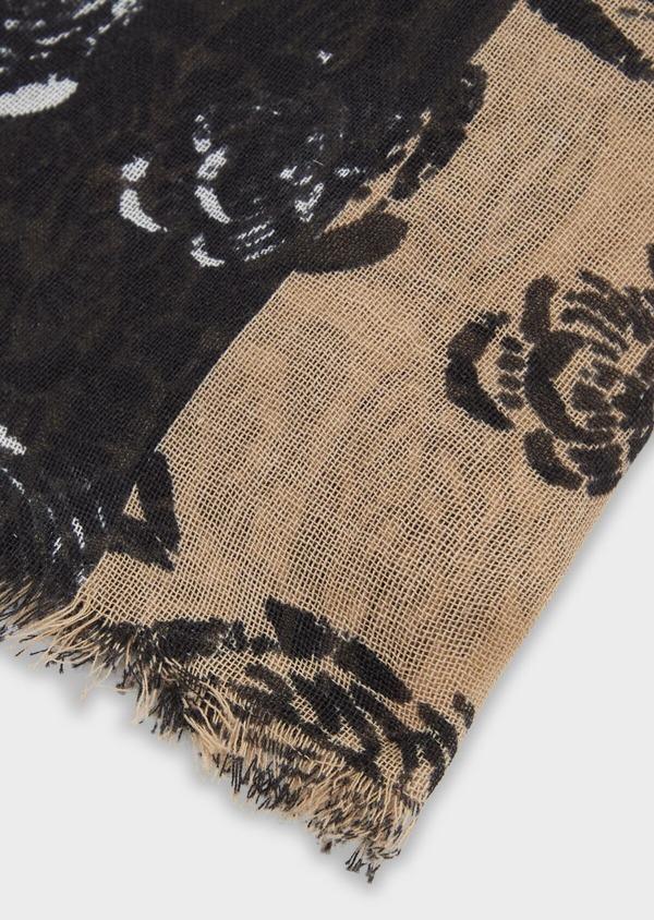 Écharpe en coton à motif fleuri gris anthracite et beige - Father and Sons 37924