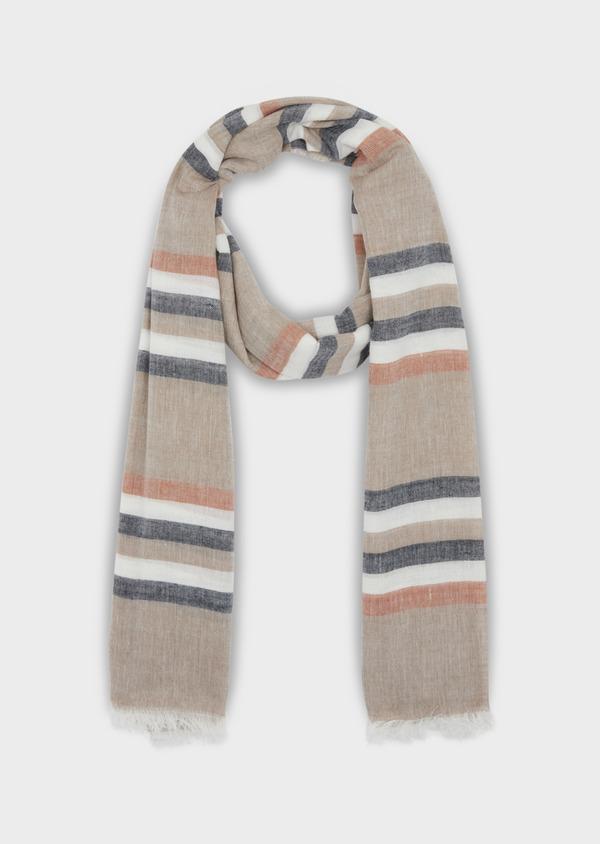 Écharpe en coton à rayures grises, marron et blanches - Father and Sons 37909