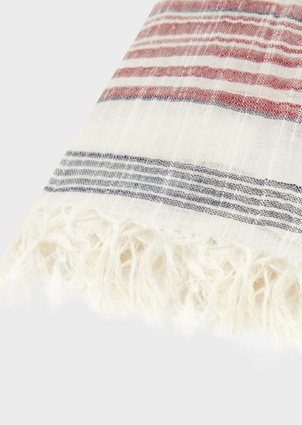 Écharpe en coton blanc à rayures bordeaux et bleu - Father and Sons 39489