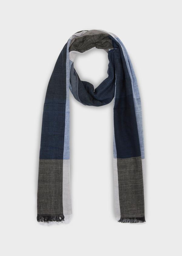 Écharpe en coton à carreaux bleu, blanc et gris - Father and Sons 37913