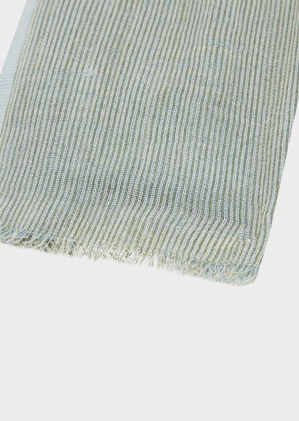 Écharpe doublée en coton bleu et gris à rayures - Father and Sons 39487