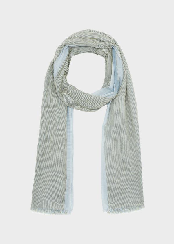 Écharpe doublée en coton bleu et gris à rayures - Father and Sons 39486