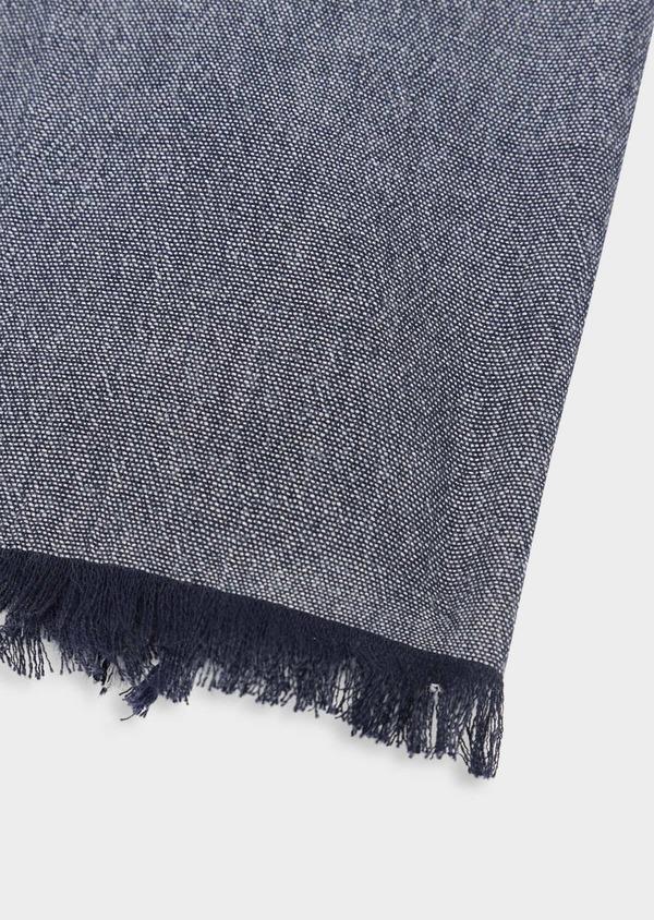 Écharpe en coton uni bleu marine à rayures sur bordure - Father and Sons 38652