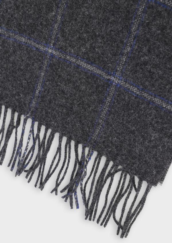 Écharpe en laine grise à grands carreaux bleus - Father and Sons 35259