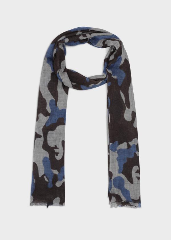 Écharpe en laine beige à motif camouflage bleu et marron - Father and Sons 35240