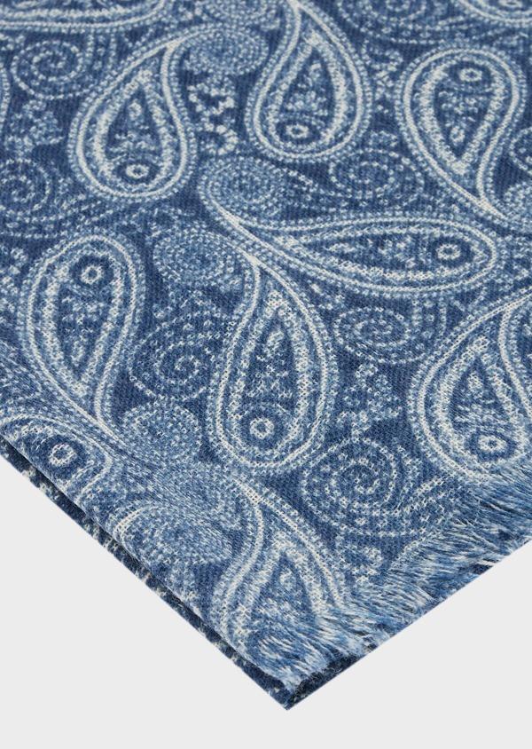 Écharpe en laine bleue à motif fantaisie blanc - Father and Sons 41174