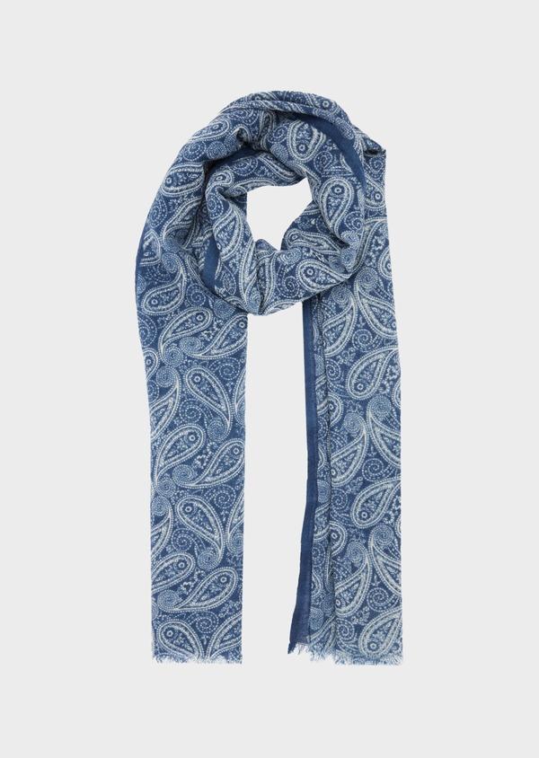 Écharpe en laine bleue à motif fantaisie blanc - Father and Sons 41173