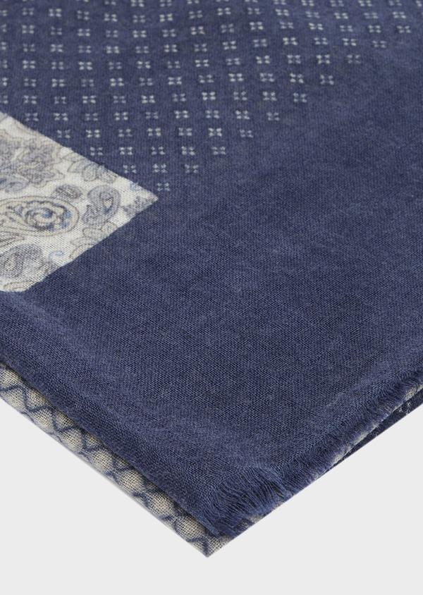 Écharpe en laine bleu indigo à motif fantaisie - Father and Sons 41186