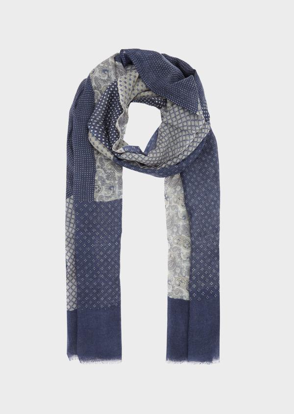 Écharpe en laine bleu indigo à motif fantaisie - Father and Sons 41185