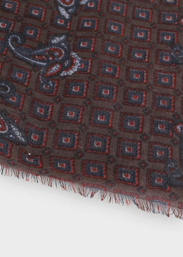 Écharpe en laine bordeaux à motif cachemire bleu et rouge - Father and Sons 35232