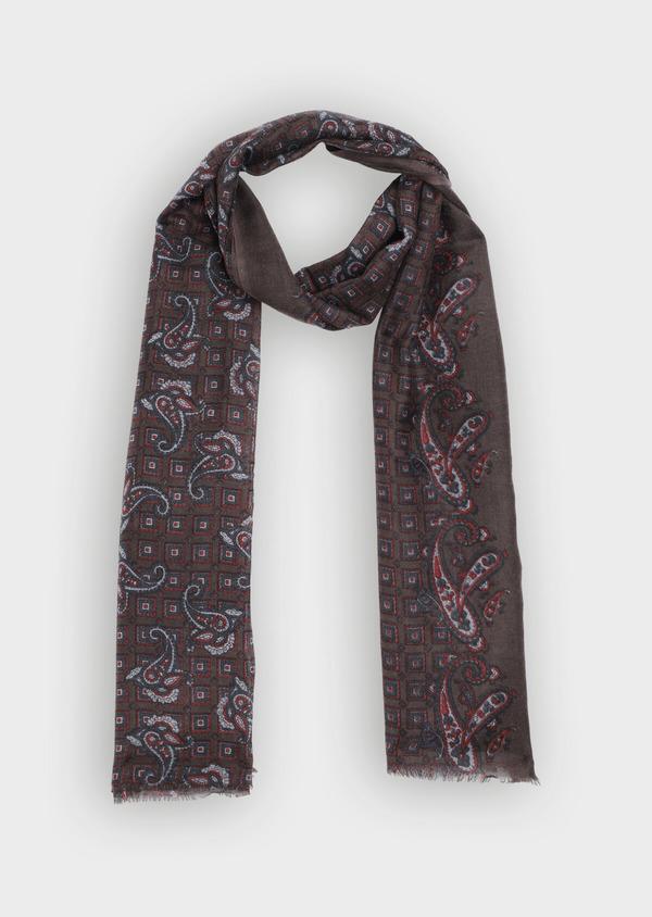 Écharpe en laine bordeaux à motif cachemire bleu et rouge - Father and Sons 35231